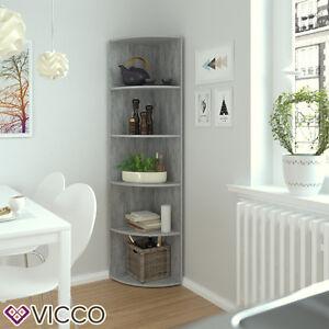 VICCO Eckregal ECKI Grau Beton Küchenregal Badregal Wohnzimmer - Eckregale wohnzimmer