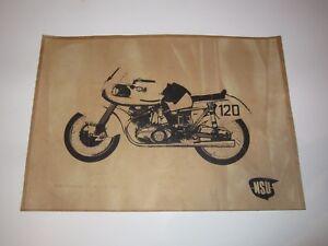 VINTAGE-POSTER-NSU-RENNMAX-1953-SILHOUETTE-MOTORRAD-BIKE-ROCKER-S-W-PAPPE-KARTON