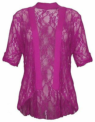 PLUS SIZE LACE DIAMONTE DETAIL CARDIGAN WOMENS LACE BOLERO SHRUG TOP 12-26 NEW