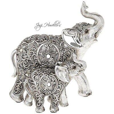 Lucky Trunk Up ELEPHANT Figurine Ornament Silver Filigree Jumbo elephant Gift