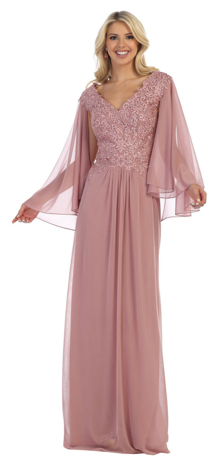 SPECIAL OCCASION MOTHER OF THE BRIDE LACE MESH EVENING CAPE DRESS & PLUS SIZE