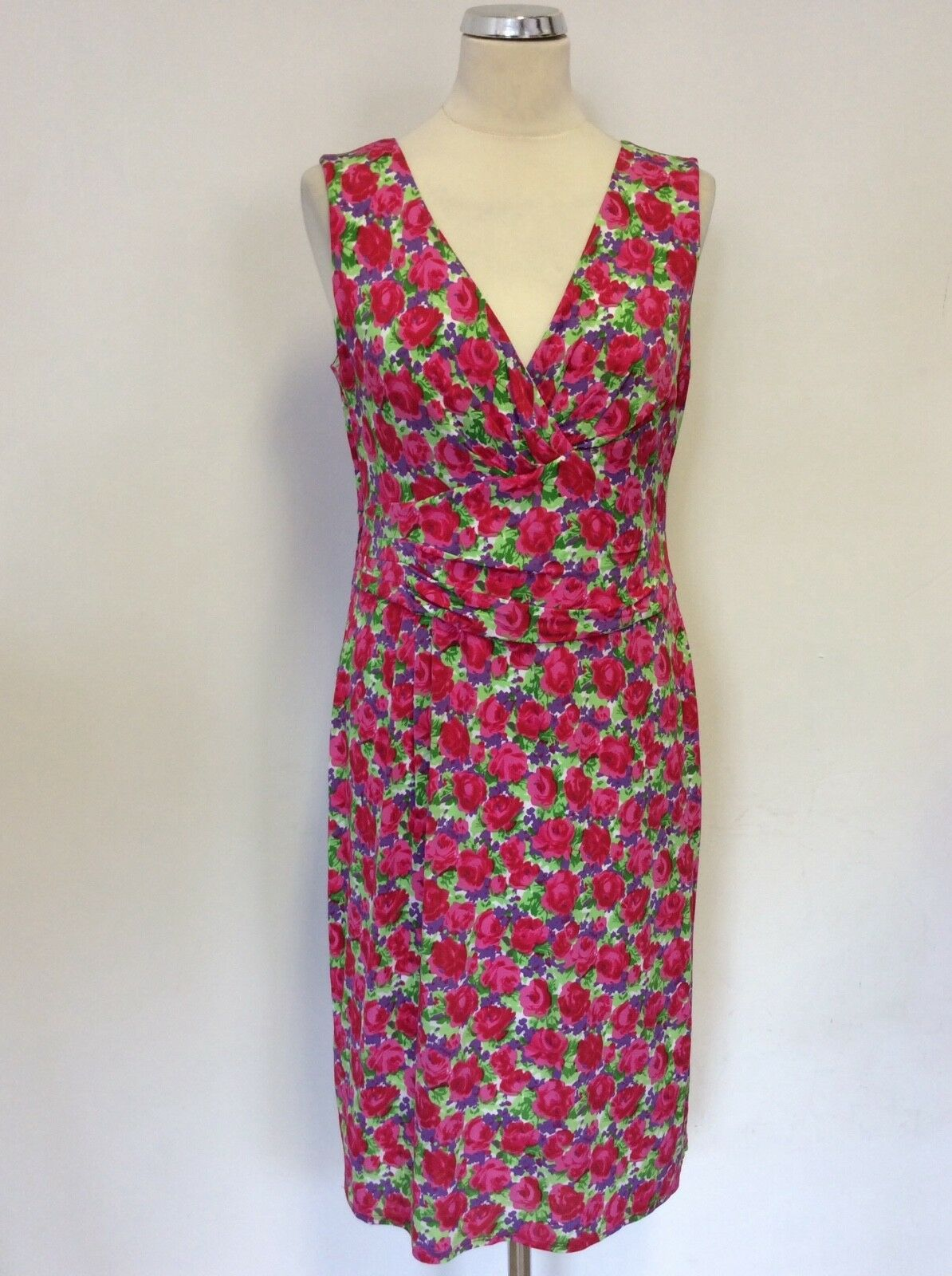 PHASE EIGHT RED pink FLORAL PRINT SLEEVELESS STRETCH PENCIL DRESS SIZE 14