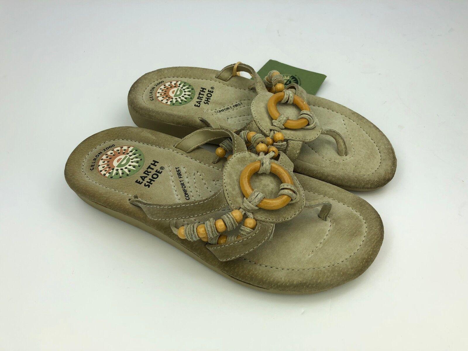 Earth Flip Spirit US Shoes 5.5 Women Leather Suede Sandal Flip Earth Flops Slides Bead G50 77fc2d