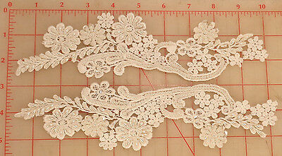 """2 beaded appliques matching pair white lace pearls & sequins flower design 10"""""""