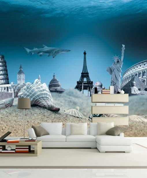 3D edifici famosi 55 Parete Murale Carta da parati immagine sfondo muro stampa
