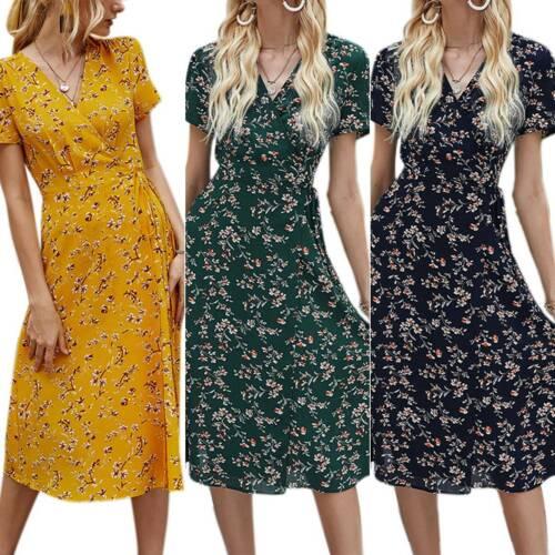 Womens Floral V-Neck Summer Short Sleeve Slimming Beach Casual Midi Shirt Dress