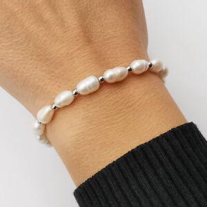 Bracciale da donna braccialetto con perle vere bianche in acciaio inox argento