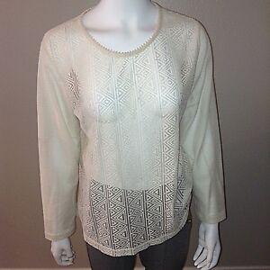 H-amp-M-Lace-Top-Size-L-Large-Womens-Cream-Long-Sleeve-Shirt-Blouse-Boho