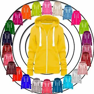 Ladies-Womens-Hoodie-Zip-Plain-Sweatshirt-Jacket-Hooded-Fleece-Coat-Hoodys-Top
