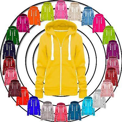 Geschickt Ladies Womens Hoodie Zip Plain Sweatshirt Jacket Hooded Fleece Coat Hoody Top Rheuma Und ErkäLtung Lindern