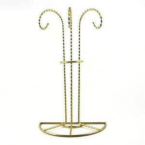 Swirl-Legs-Gold-Tone-Metal-3-Ornaments-Stand-11-Inches