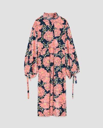 Zara stampe Kleid Samtkleid con floreali Puffy fiori Blumen M S Kimono Velluto a Sleeves N8mnwv0O