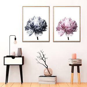 Details About Bg Nordic Minimalist Peony Flower Wall Painting Picture Art Home Decor Gift Eye