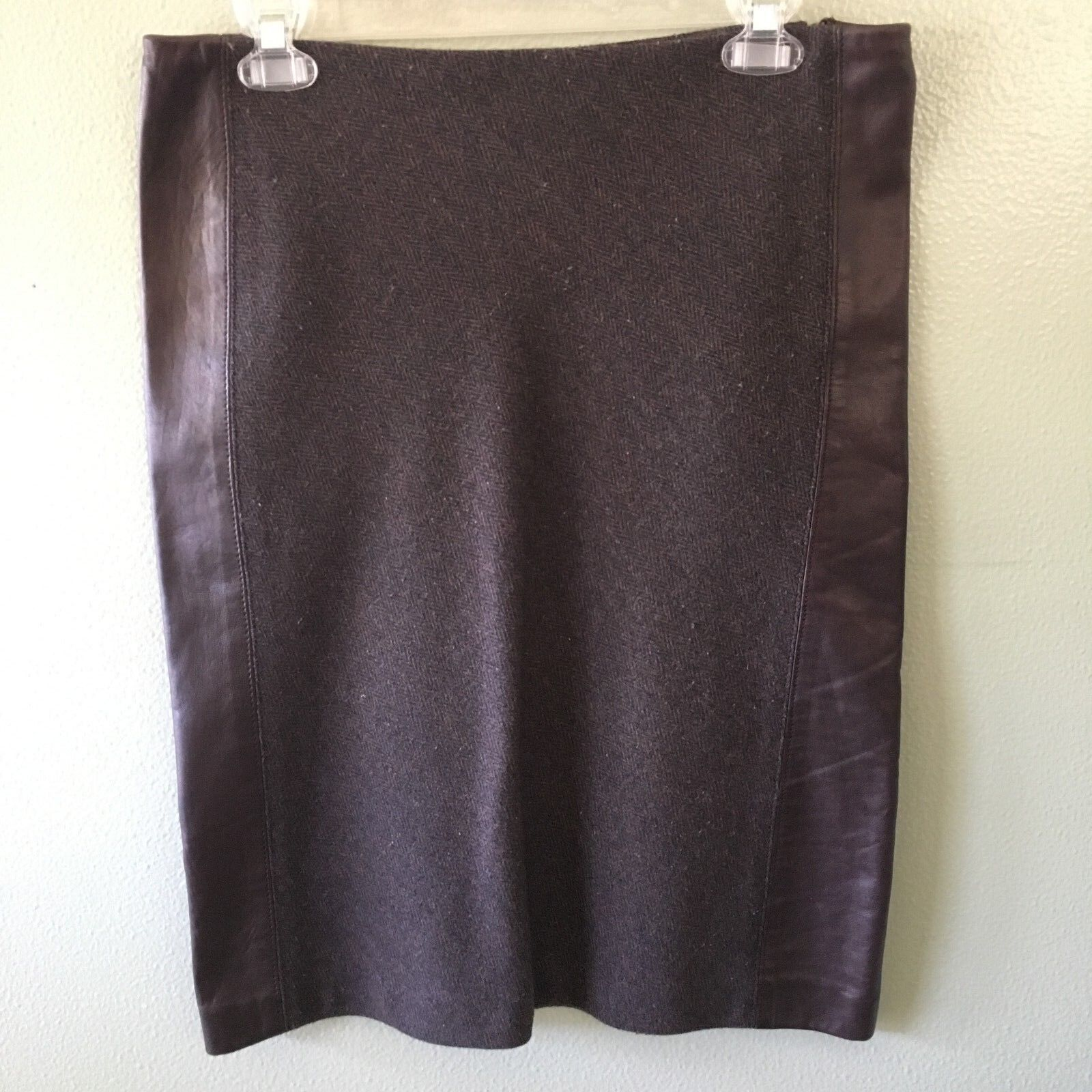 Dkny skirt 4 brown tweed faux leather wool pencil - size 4