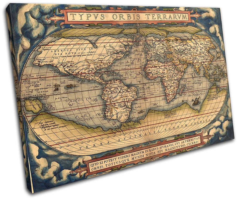 Old World Atlas Latin Maps Maps Maps Flags SINGLE TELA parete arte foto stampa 8a9495