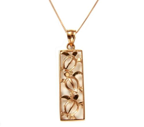 SOLID 14K PINK ROSE GOLD HAWAIIAN 3 CUT OUT HONU TURTLE VERTICAL PENDANT