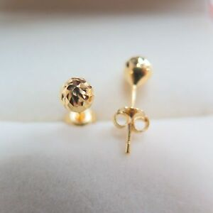 Solid-18K-Yellow-Gold-5mm-Width-Faced-Ball-Stud-Earrings