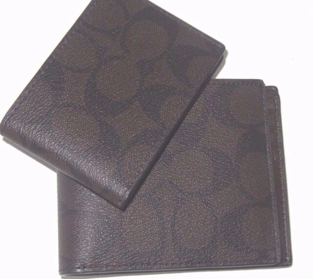 Coach Men/'s F75371 Compact ID Signature Embossed Mahogany Leather Wallet NWT$185