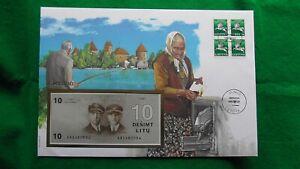 Banknotenbrief Litauen - mit 10 Litu - Geldschein und 4 Briefmarken