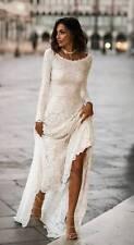 Long sleeves Lace elegant wedding dress Simple modest bohemian boho bridal gown