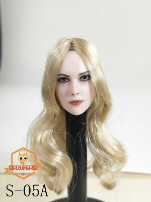 """1//6 Head Sculpt Black Long Hair Planted Angry Face For 12/""""Figure Doll"""