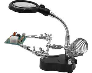 Helping-Hand-mit-LED-Licht-und-Lupe-und-Lotkolbenablage-HH3-Neu-Ovp