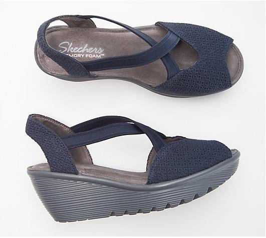 Skechers Peep-Toe Sling Back Wedges - Parallel, Size 7.5