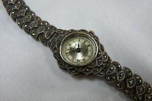 Vintage-925-silver-Ladies-Marcasite-quartz-watch-Non-Running-Spares-B132-J12