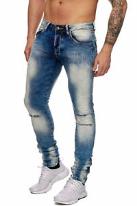 JEANS-Uomo-Blu-Biker-Jeans-Pantaloni-Denim-blechend-STRAPPATI-SLIM-FIT-John-Kayna