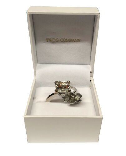 Two/'s Company Diamond Ring Key Chain with Heart Charm in Gift Box