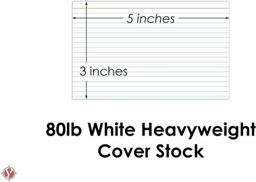 Heavyweight 80lb Cover Stock Ruled White Index Cards 100 Cards Per Pack
