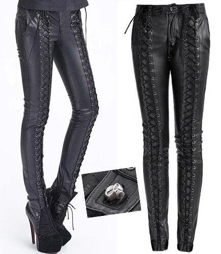 Slim Hose Gothic Lolita Steampunk Leder Schnürung trend Schädel Skull Punkrave