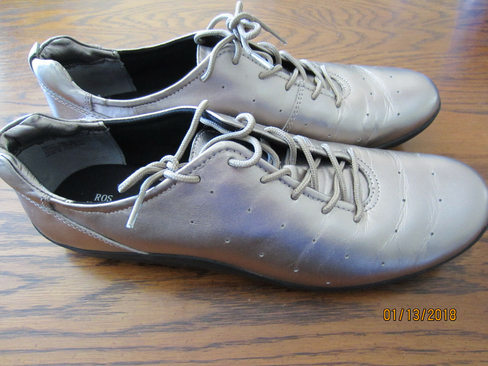 Ros hommerson champagne pewter metallic oxford Leder Nelly 12 narrow