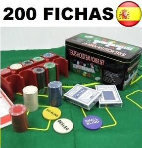 Juego-de-Poker-200-fichas-con-caja-2-Juego-de-Barajas-Ficha-dealer-Tapete