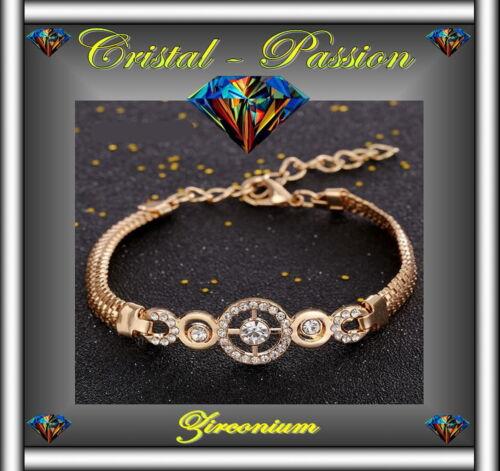 Bracelet femme  zirconium  Cibles  doré or fin amour mariage  fiançaille  D6