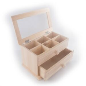 Wooden-Mini-Dressing-Table-Jewellery-Box-6-Compartments-2-Drawers-Mirror