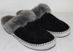 9bc5a941ef6 Details about NEW NWOB WOMENS SIZE 11 BLACK UGG AIRA SLIP ON SUEDE  SHEEPSKIN SLIPPERS