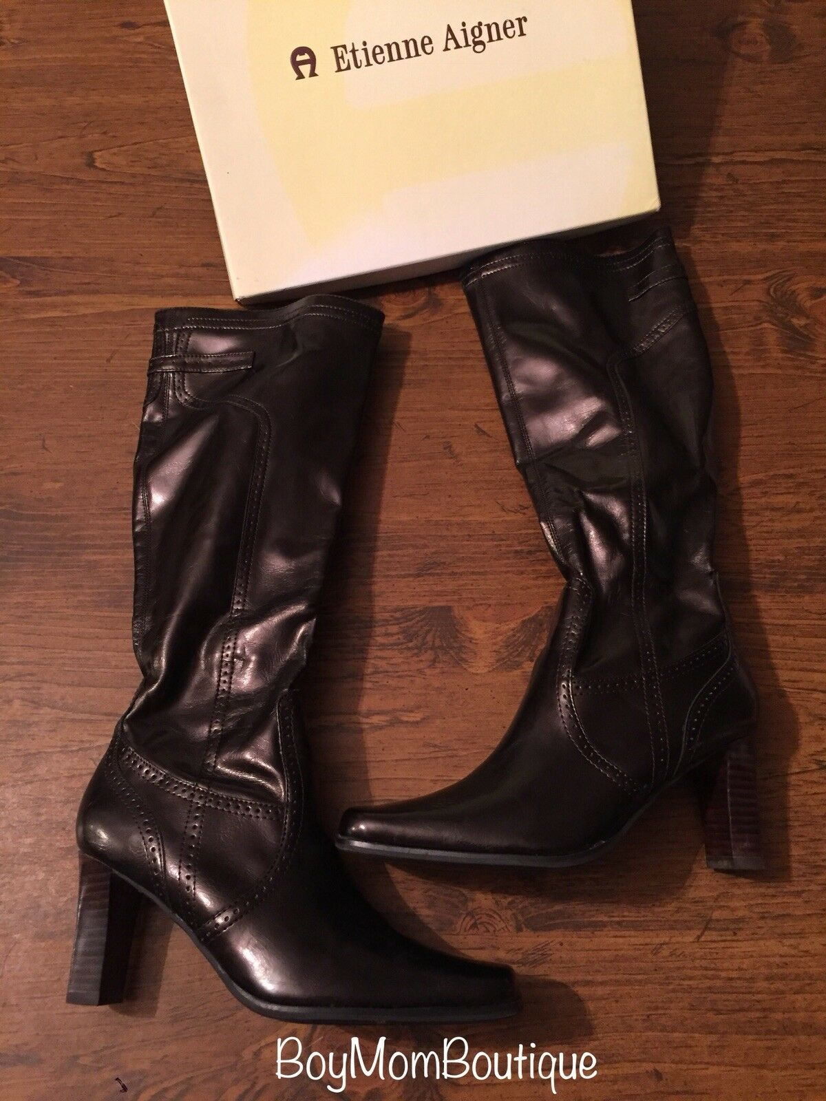 Womens Etienne Aigner Carlie High Heel Brown Patent Faux Leather Boots 6M GUC