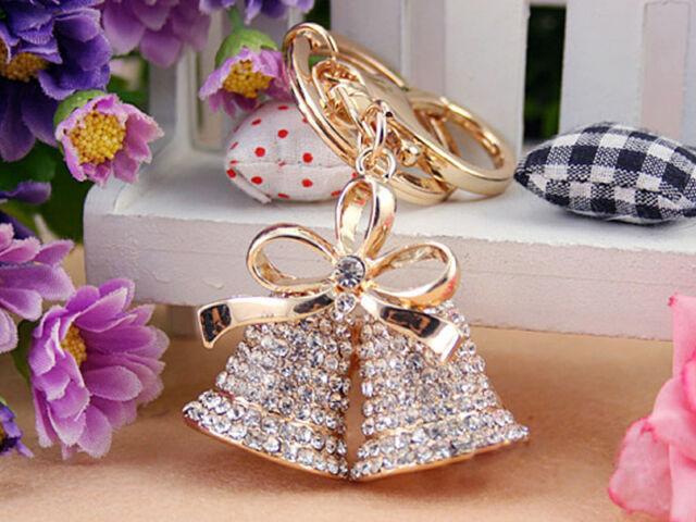KC010 Bells Keyring Swarovski Crystal Charm Pendant Key Bag Chain Christmas Gift