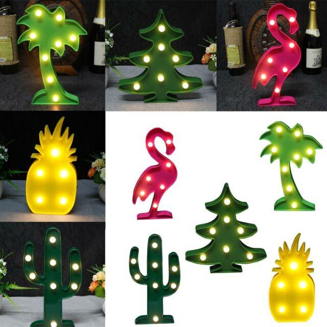 LED Neon Sign Light Table Flamingo Coconut Tree Pineapple Lamp Christmas Decor