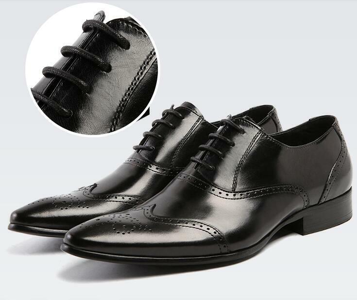 Para hombres Cuero Puntera Puntiaguda Wing Tip Brogue Zapatos Tallado Low Top Vestido Formal Cordones