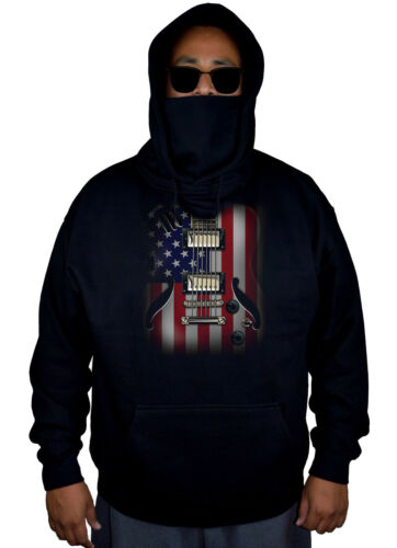 July Fleece Patriotic Men's Flag Usa Black 4 Guitar Hoodie American Music Mask zBqB7wRI
