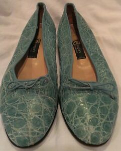 Giorgio-039-s-of-Palm-Beach-Turquoise-crocodile-loafers-shoes-size-39-9