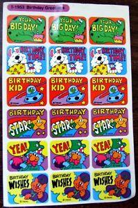 VINTAGE-1980-039-S-TREND-HAPPY-BIRTHDAY-DINOSAURS-SPACESHIP-STARS-STICKER-SHEET