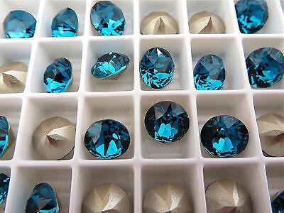 6 Indicolite Foiled Swarovski Crystal Chaton Stone 1088 39ss 8mm Chatons