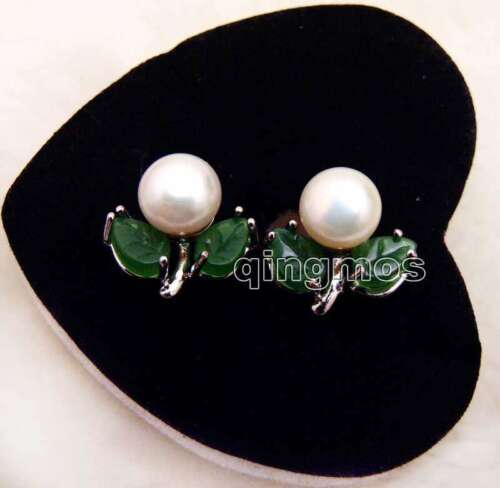 7-8mm Black Flat Round Natural Pearl Women Earring Green Jade Leaf Stud ear473