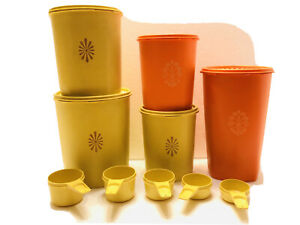 10pc-VTG-TUPPERWARE-Servalier-Yellow-amp-Orange-Canisters-w-Lids-5-Measuring-Cups