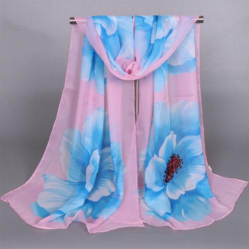 Damen Chiffon Schal Tuch Schal Badetücher Halstuch Sonnencreme Blumen Shawl