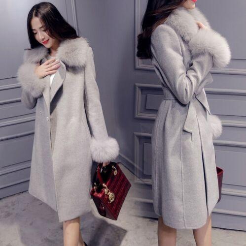 Bæltet Outwear Fur Over Kvinders Jakke Fox Winter Knæbeklædning Trench Collar Faux ZzzPwH