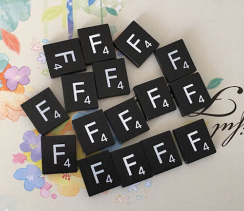 Black  Scrabble Tiles Letters A to Z in Stock! Letter F Individual 10 TEN